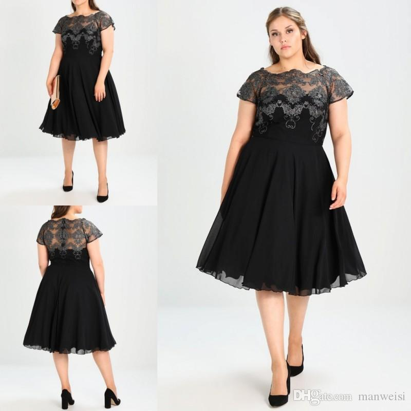 Black Plus Size Formal Prom Dresses Knee Length A Line Short Sleeve ...