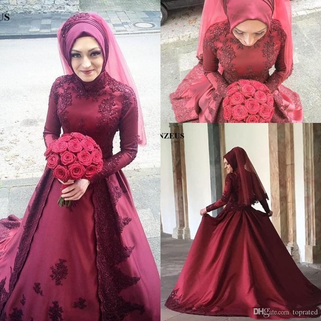 2018 Gorgeous Colorful Burgundy Long Sleeves Muslim A Line