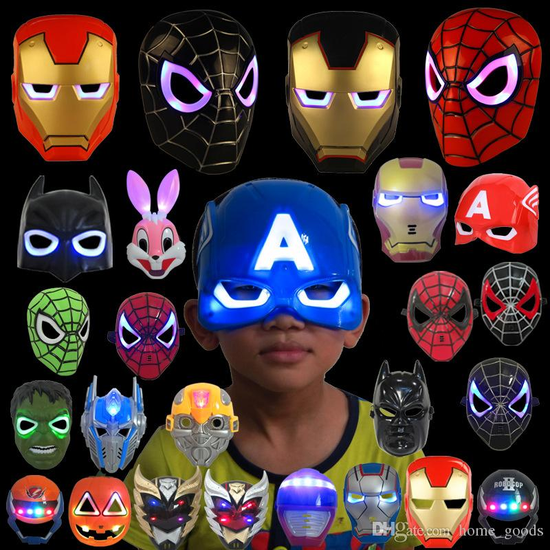 LED Glowing Light Halloween Mask super hero Spiderman Captain America Hulk Iron Man Mask For Kids Adults Christmas Birthday Party gift toys