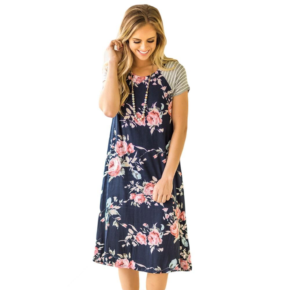 13d0de3986 T Shirt Dresses Womens 2018 Tunic White Backdrop Floral Print A Line Loose  Dress Vestidos Casual Mujer Lc61596 Girls Dress Bridal Dress From  Xuxiaoniu2