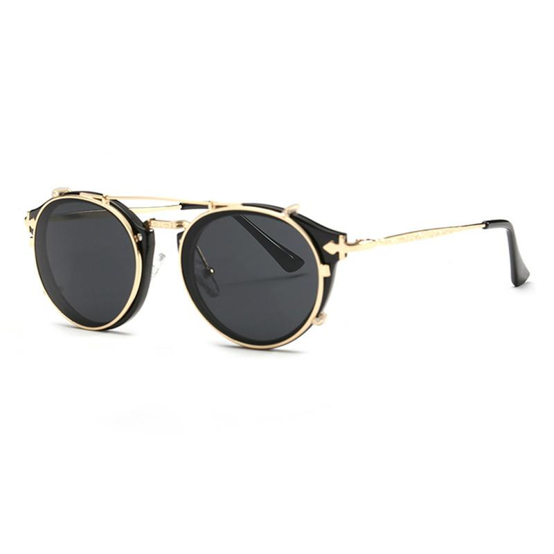 d5e3164dc6 Newest Clip On Steampunk Sun Glasses Women Men Classic High Quality Round  Sunglasses For Ladies Fashion Oculos UV400 Womens Sunglasses Sunglasses  Sale From ...