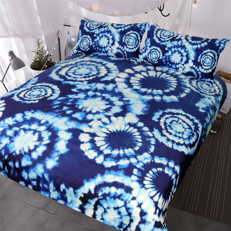 53c13632025c Blue Tie Dye Bedding Set Boho Indigo Bedspreads Chic Blue And White  Watercolor Duvet Cover With Pillowcases Pretty Comforter Sets Affordable  Comforters From ...
