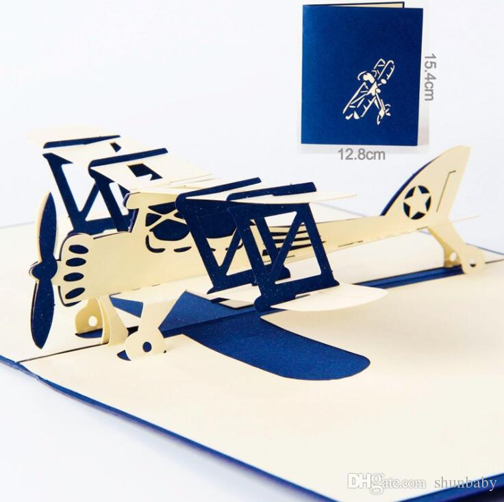 Airplane Model 3D Laser Cut Pop Up Gift Cards Happy Birthday Greeting Gifts Post Wishes Bulk Wholesale Card Printer Buy Credit