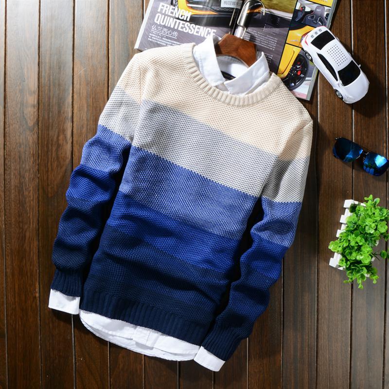Großhandel Herbst Winter Wolle Gestreiften Pullover Herren Marke Casual  Blau Männlich Pullover Oansatz Slim Fit Strick Männer Pullover Pullover 50  Von ... d24377e871