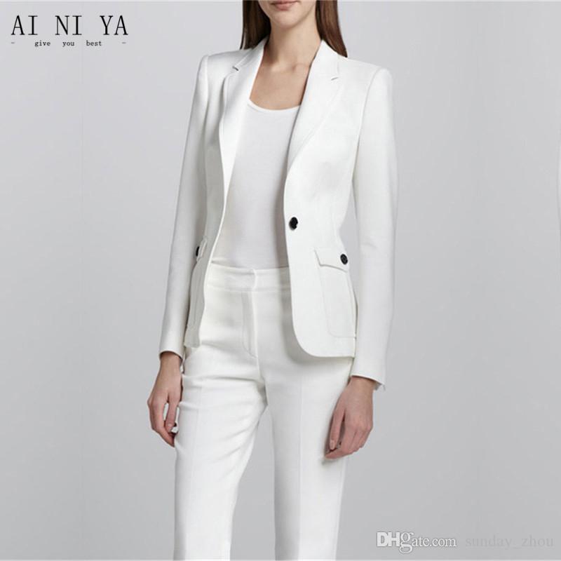 e57f38289 Compre Blanco Para Mujer Uniforme De Oficina Trajes De Pantalón De 2 Piezas  Para Mujer Traje Traje Pantalón Para Mujer Trajes De Negocios Para Mujer  Trajes ...