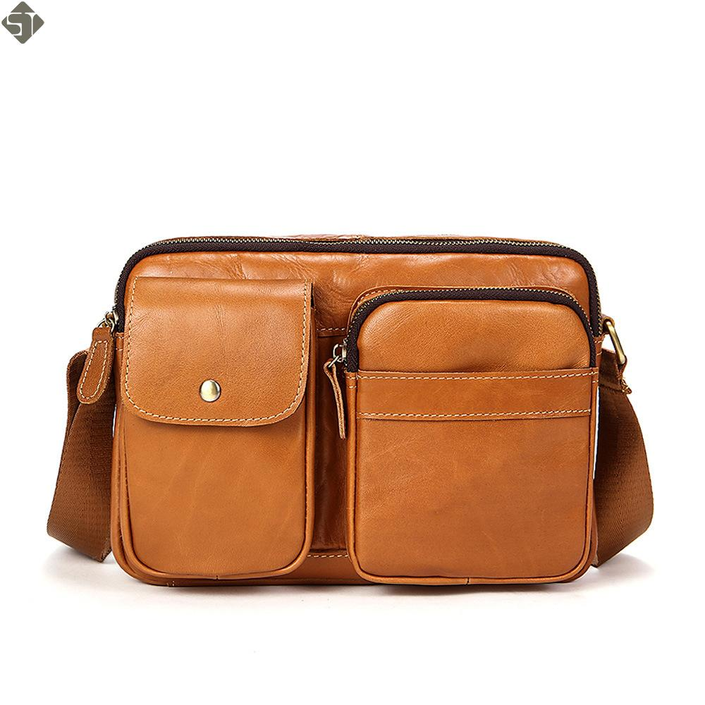 9693187ddb ST Men S Bags Genuine Leather Male Crossbody Bags Strap Small Casual Flap Men  Leather Messenger Bag Men S Shoulder Bag Womens Bags Camo Purses From ...