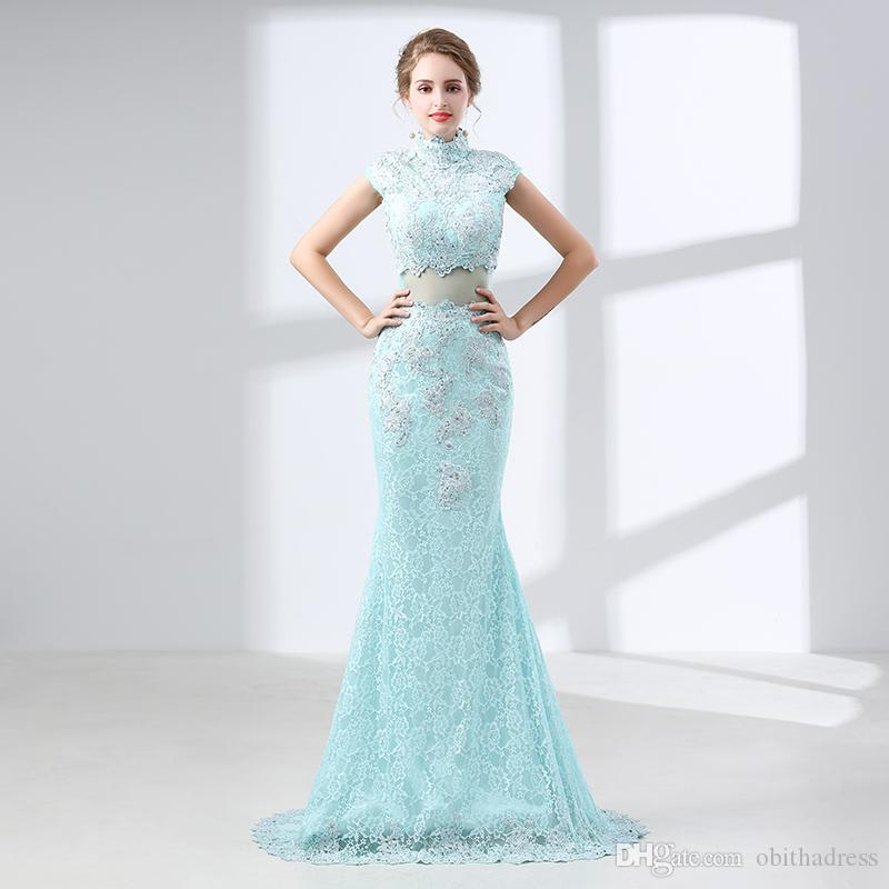 Beautiful Mermaid Prom Dresses Sleeveless High Collar Lace Beads ...