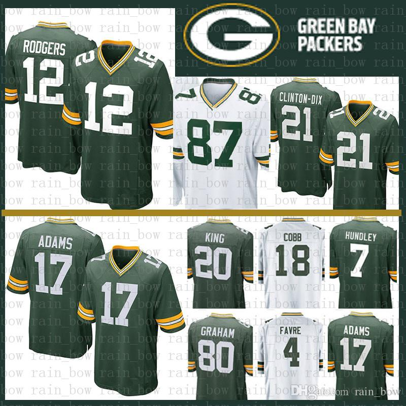de55da1ed54 2019 Stitched 12 Aaron Rodgers Jersey Green Bays Packers 17 Davante Adams  23 Jaire Alexander Favre 52 Matthews 80 Graham 21 Ha Clinton Dix King From  ...