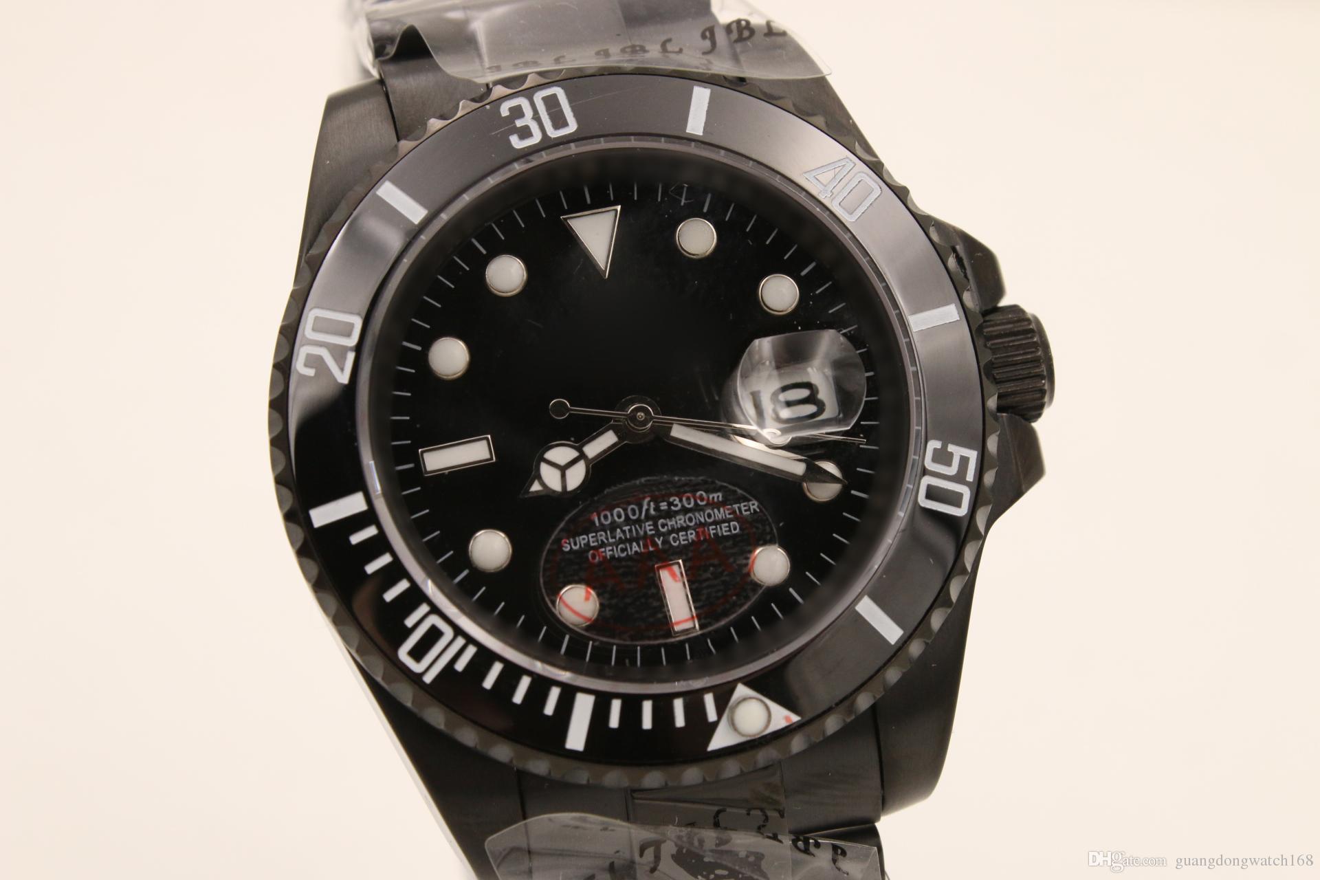 d03ab581f6b Luxury Brand Watch AAA Men Automatic Rolix 40MM SUB- Mariner Black Face  Mechanics Mens Wristwatches Original 18K Gold Stainless Steel Clasp Fashion  Sports ...
