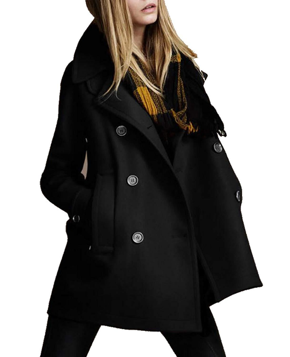 Womens Casual Slim Double Breasted Lapel Solid Peacoat Trench Coat UK 2019  From Goldenharvest 805d623183