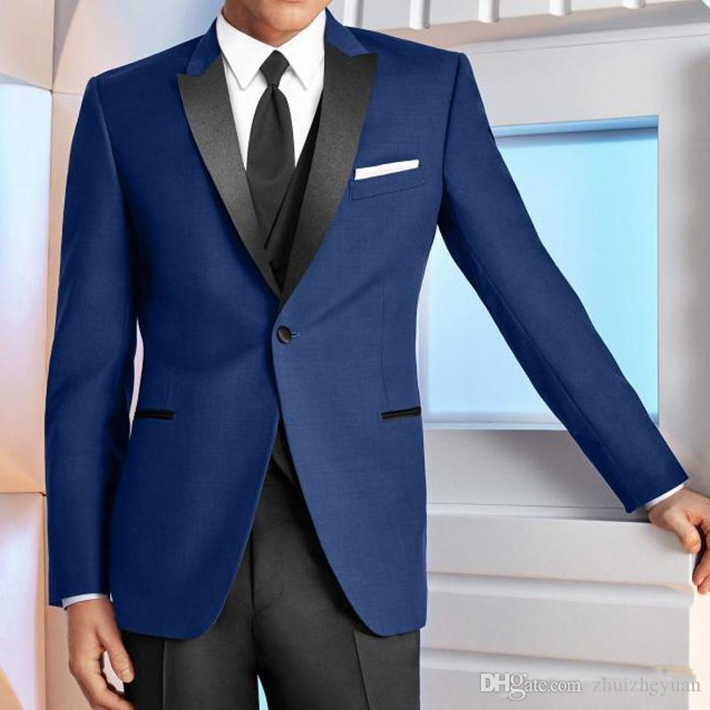 2018 Trajes de boda azul Barato por encargo Padrinos de boda Esmoquin negro de solapa pico de tres piezas de fiesta de negocios trajes de hombre chaqueta + pantalón + chaleco