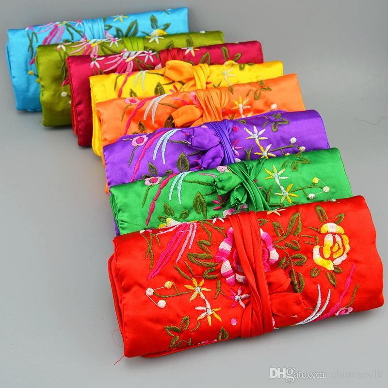 Broderi blomma fåglar silke smycken rulla rese väska vikning dragsko stor kosmetisk väska för dragkedja kvinnor smink lagringsäck 50st /
