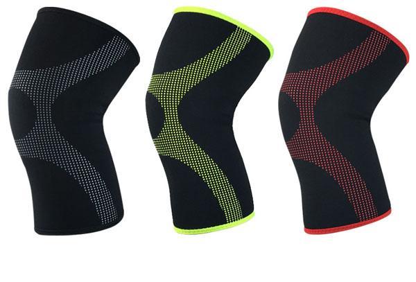 Genouillère sport respirant en néoprène compressé pour le basket-ball, le badminton, la course à pied, la protection cycliste, protège-genoux, manche de jambe M / L / XL