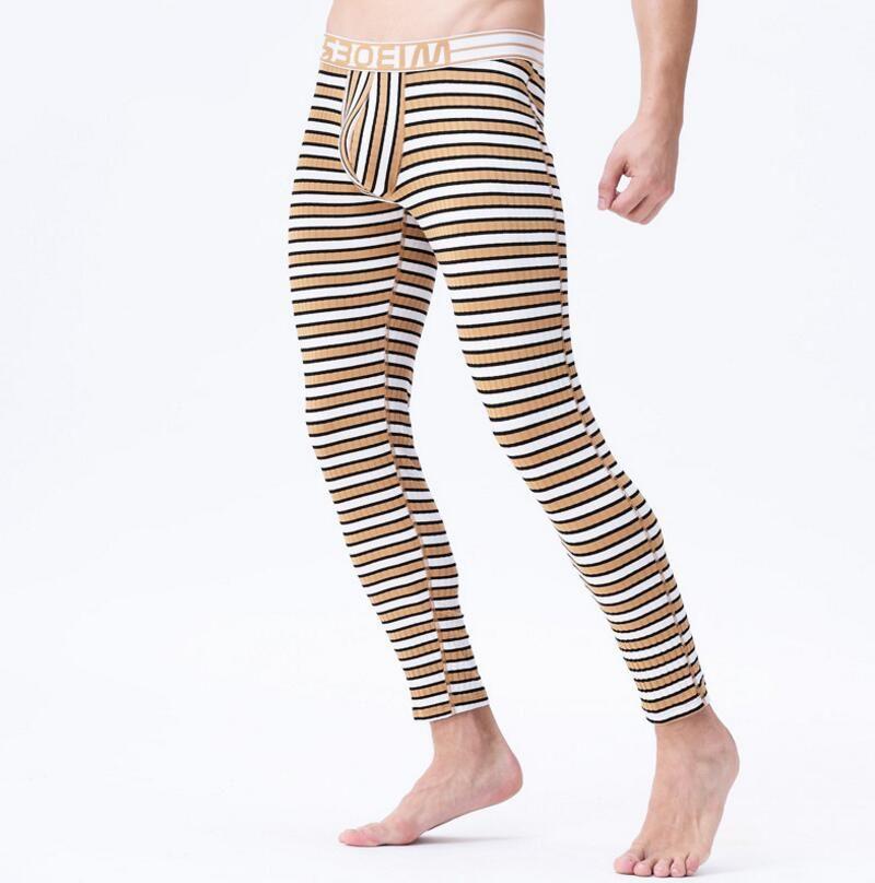 Marque hommes thermique sous-vêtements hommes longs jeans pantalons chauds à rayures hommes mince legging confortable taille m l xl xxl