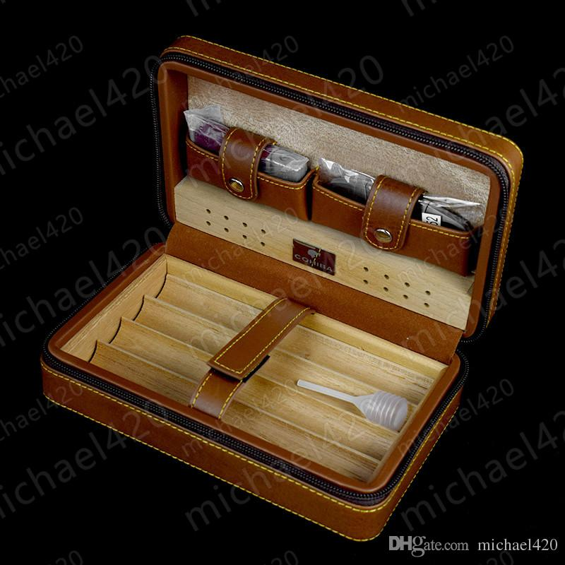 New COHIBA Cigar Humidor Cedar wood humidor Carrying travel packets Can installed cigar with Lighters and cigar cutters