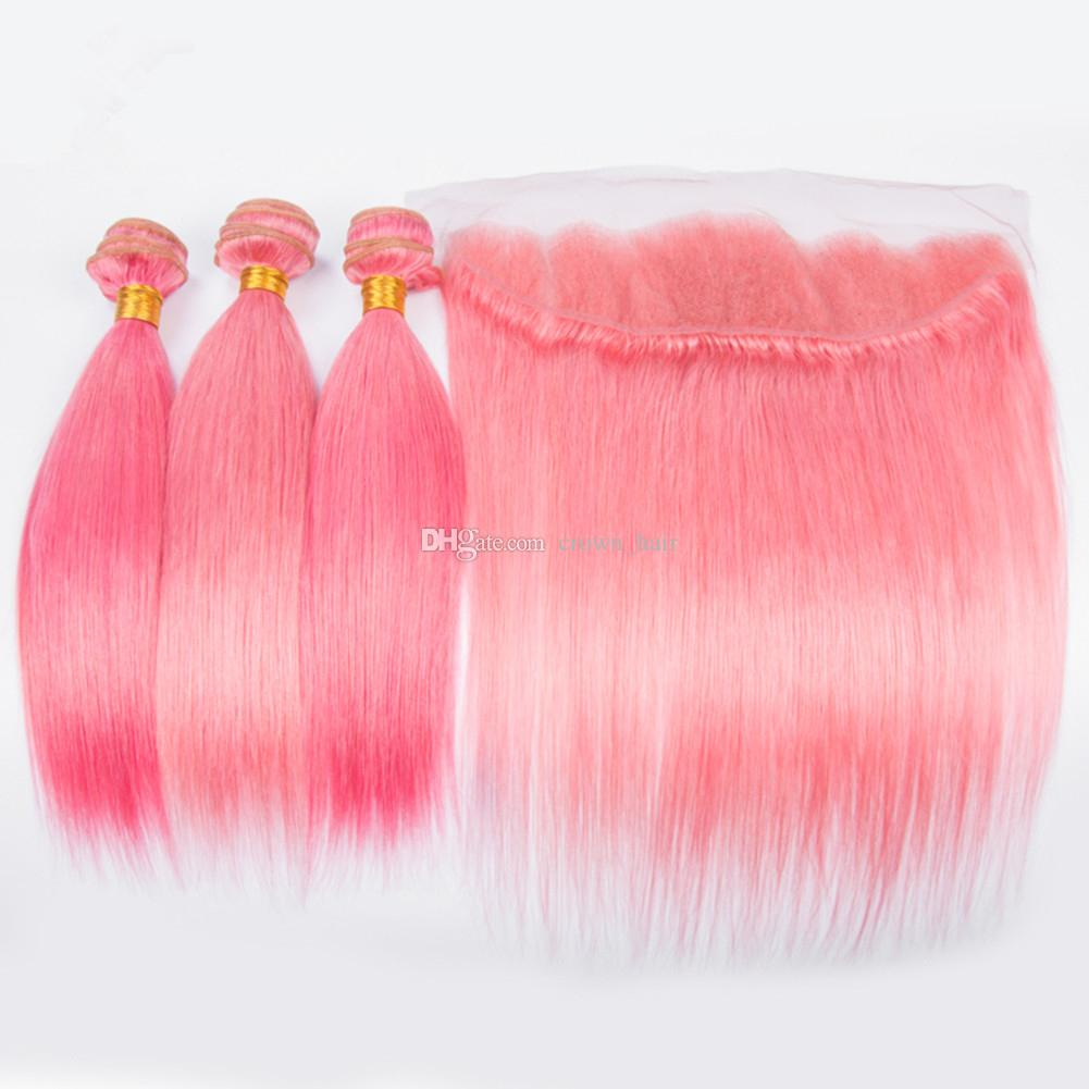 Popular Colored Pink Silky Straight Hair Weaves With Lace Frontals Straight Ear To Ear Frontal With pink Hair Bundles