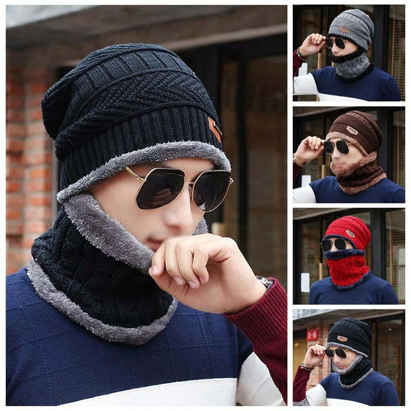 8eda601e125 2019 2018 New Fashion Style Winter Knitted Hat Men Scarf Hats For ...