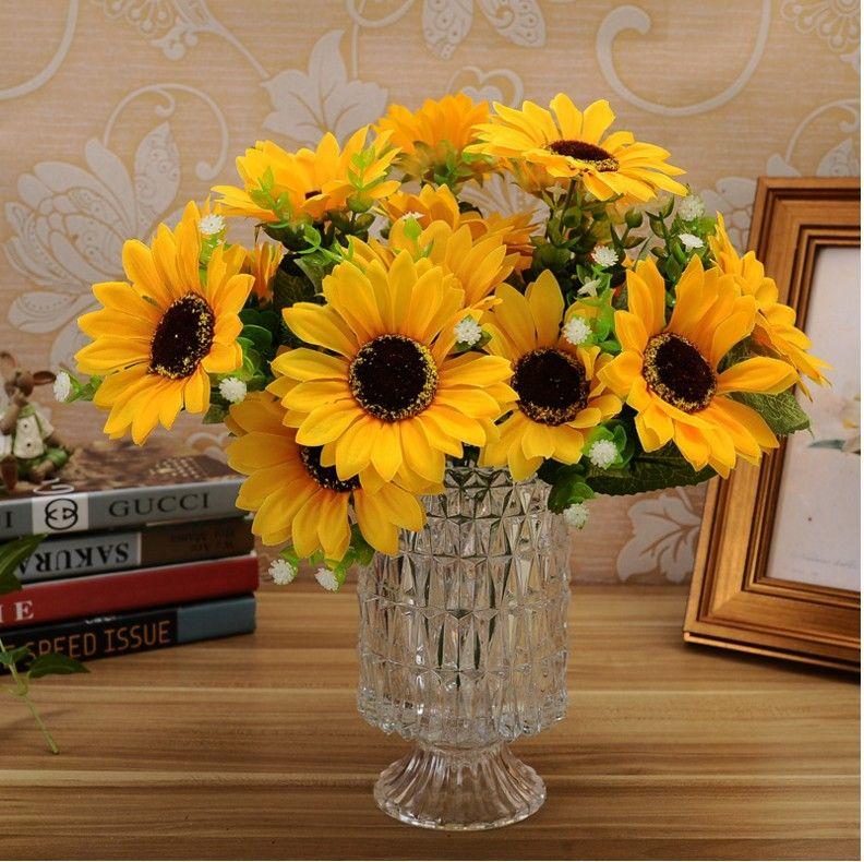 애교 인공 해바라기 가짜 뷰티 가짜 일 꽃 실크 꽃다발 홈 정원 사무실 회의 꽃 장식 할로윈 파티의 배열