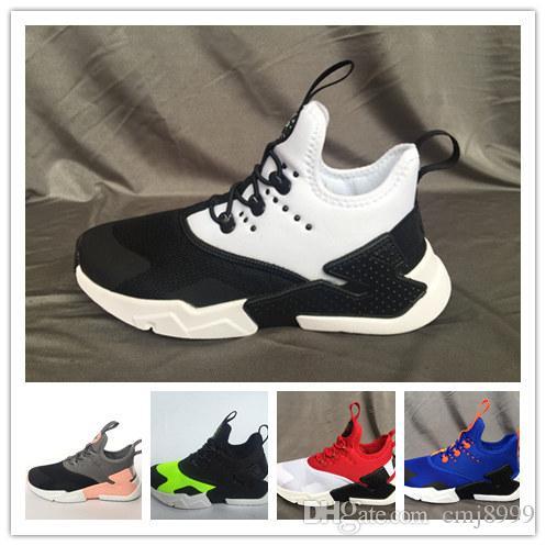 cheap for discount e12a3 1d694 Acheter Boîte Nouveaux Enfants Air Huarache Sneakers Chaussures Pour  Garçons Grils Authentique Tous Blancs Baskets Pour Enfants Huaraches Sport  Chaussures ...