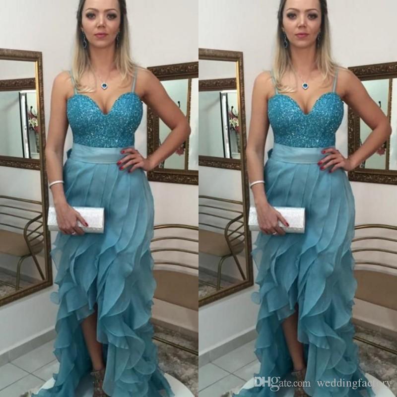 b8b9271d7 Compre Fabuloso Azul Claro Vestidos De Baile Cariño Correas De Espagueti  Lentejuelas Top Tiered Ruffles Falda Vestidos De Fiesta De Noche Divididos  Longitud ...