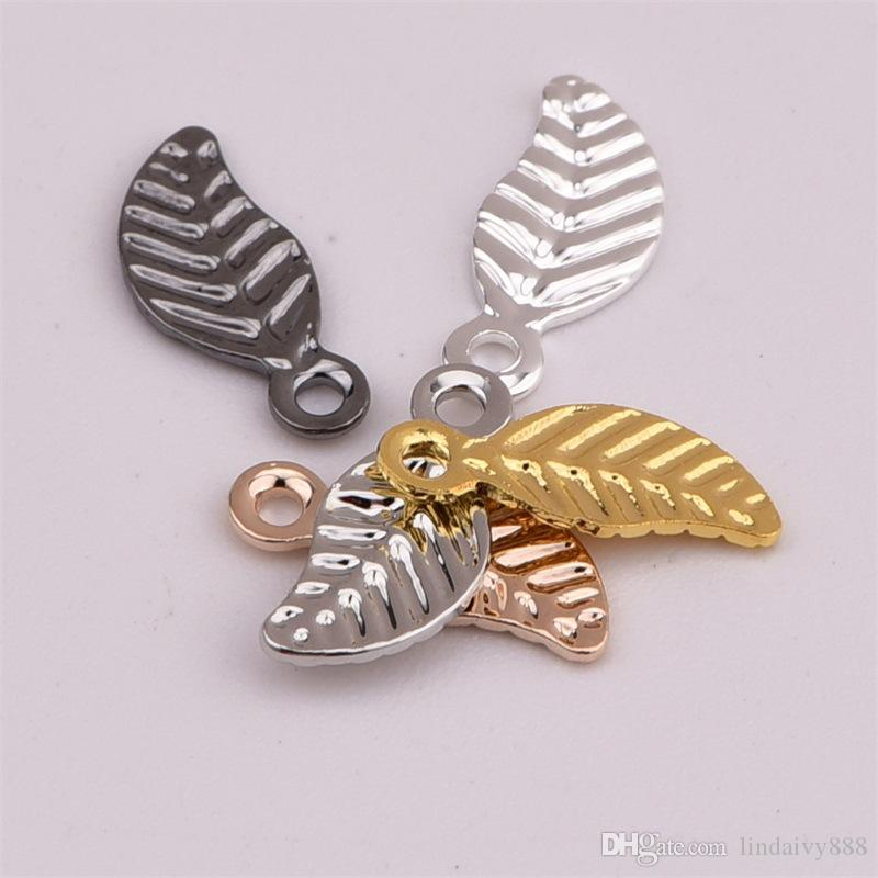 Leaf Charms Pendants for DIY Fashion Necklace Bracelet 9.4*4mm Brass Leaves charms fit Jewelry Making Findings Wholesales