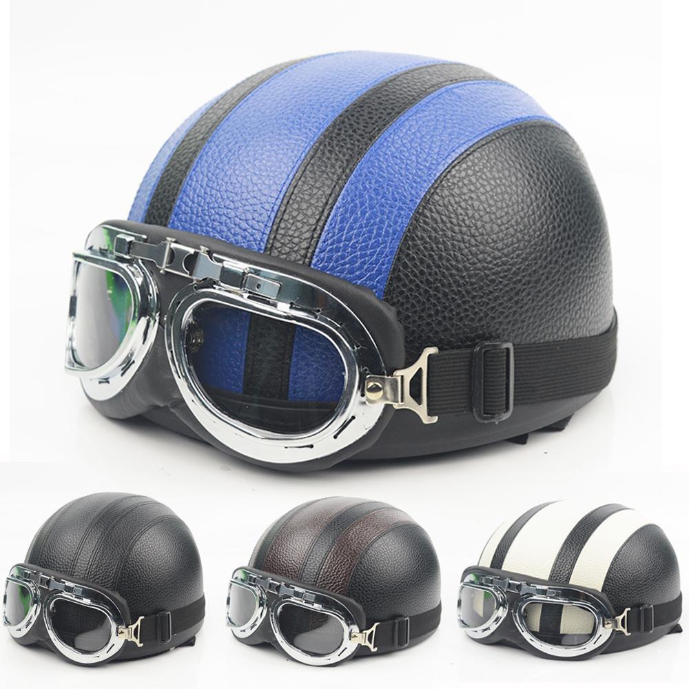 Motorcycle helmet scooter open face half leather helmet with visor uv goggles retro vintage style motocross motorcycle helmet speakers motorcycle helmet