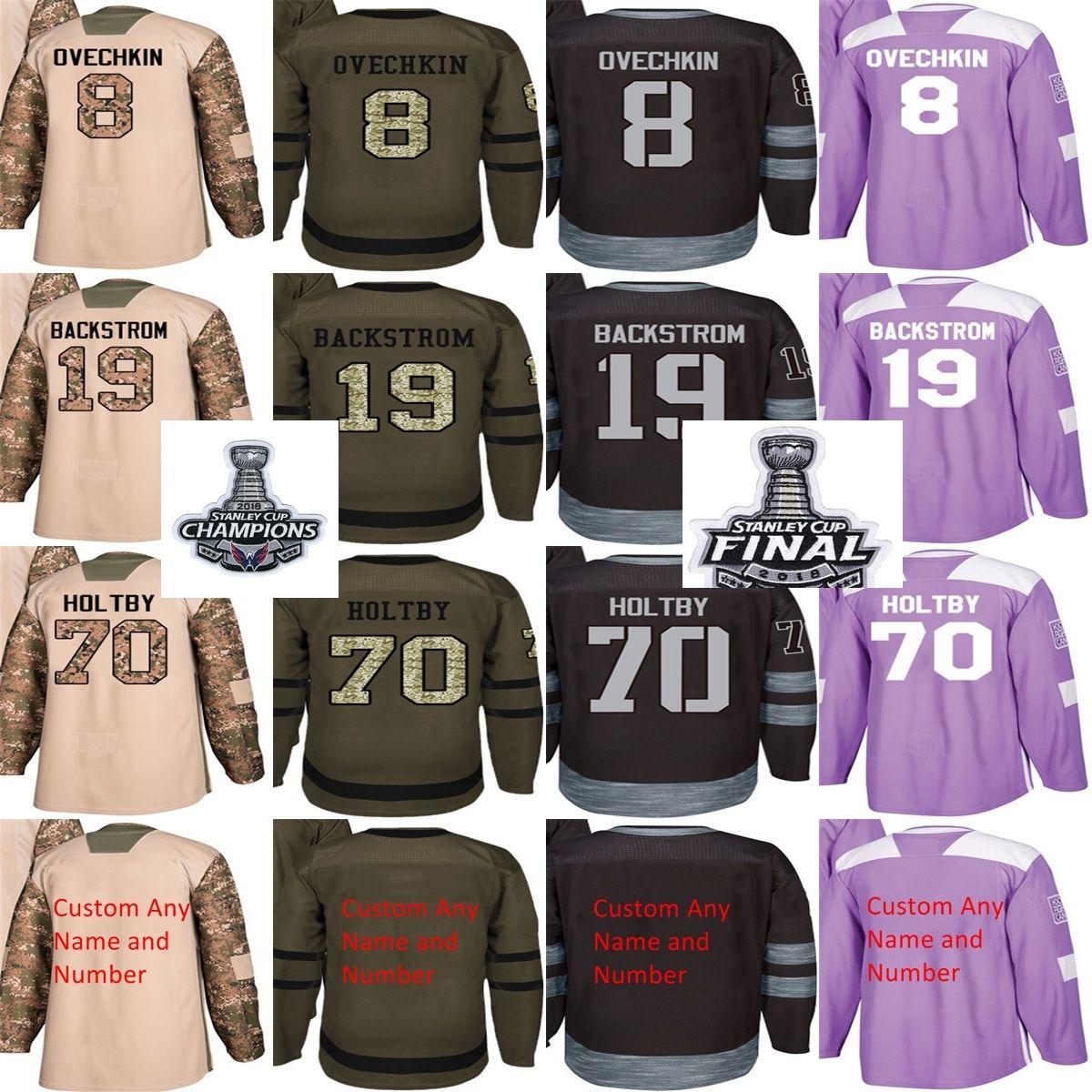 2019 2018 Stanley Cup Champions Final Men Washington Capitals Alex Ovechkin  T.J. Oshie Braden Holtby Backstrom Camo Black Green Hockey Jerseys From  Fanatics ... 698e50bc6