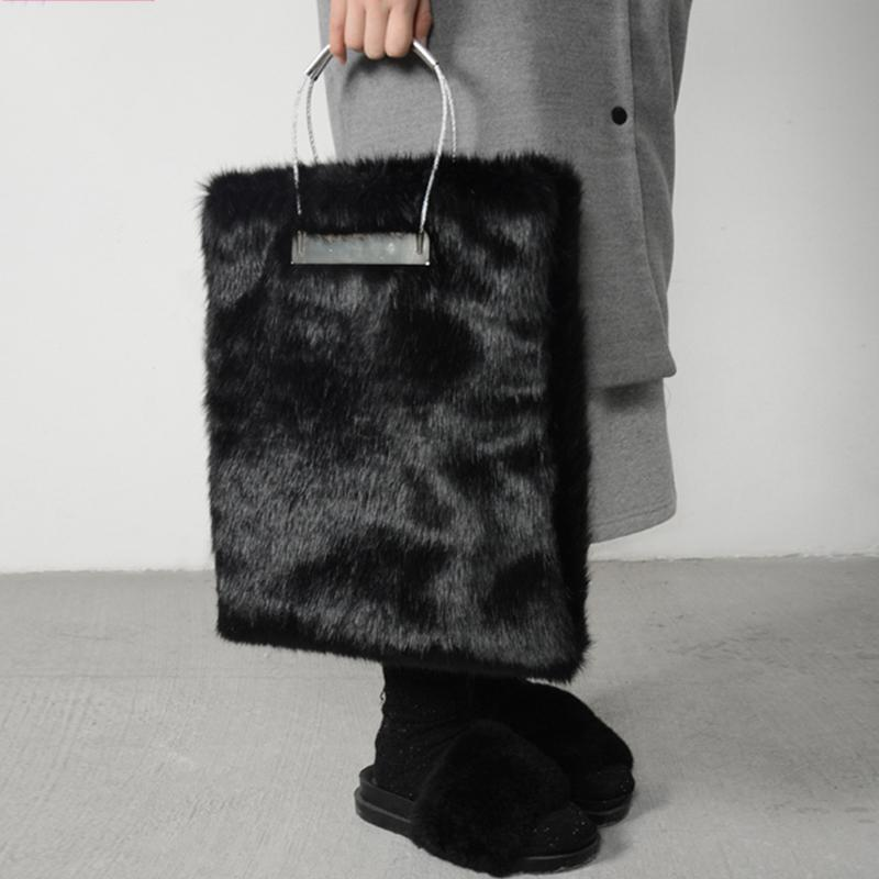 04d958cce7 Luxury Mink Faux Fur Women Handbags Lady Round Ring Tote Bag Female Black Clutch  Bag Women S Winter Fur Fold Over Evening Bags Handbags For Sale Large ...