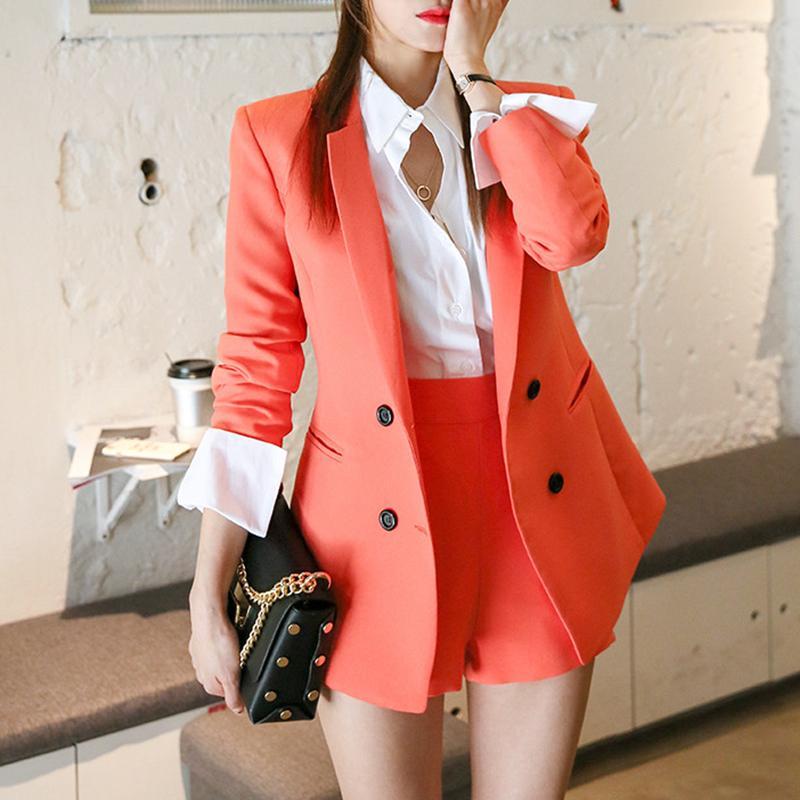 1ffe773e Alta calidad trajes de las mujeres de dos piezas rojo negro Blazer Set  Pantalones Pantalones cortos traje pantalón ocasional delgado de las  mujeres ...