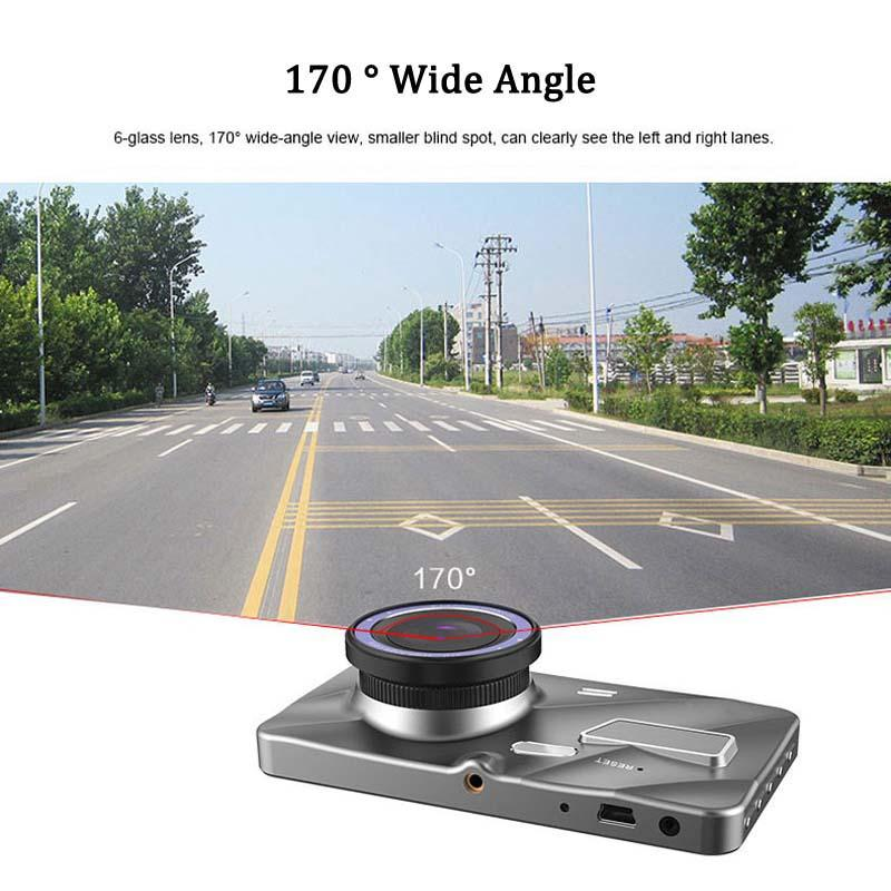 """4"""" IPS screen car DVR camcorder auto video recorder vehicle driving camera 2Ch 1080P full HD 170° motion detection G-sensor parking monitor"""