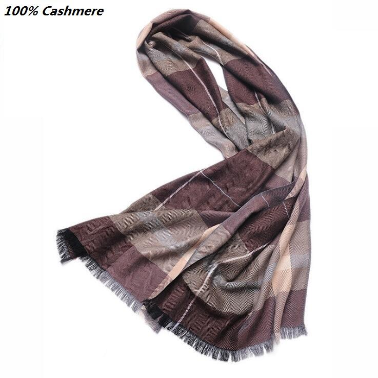 100% cashmere men's plaid classic scarves and knit shawl