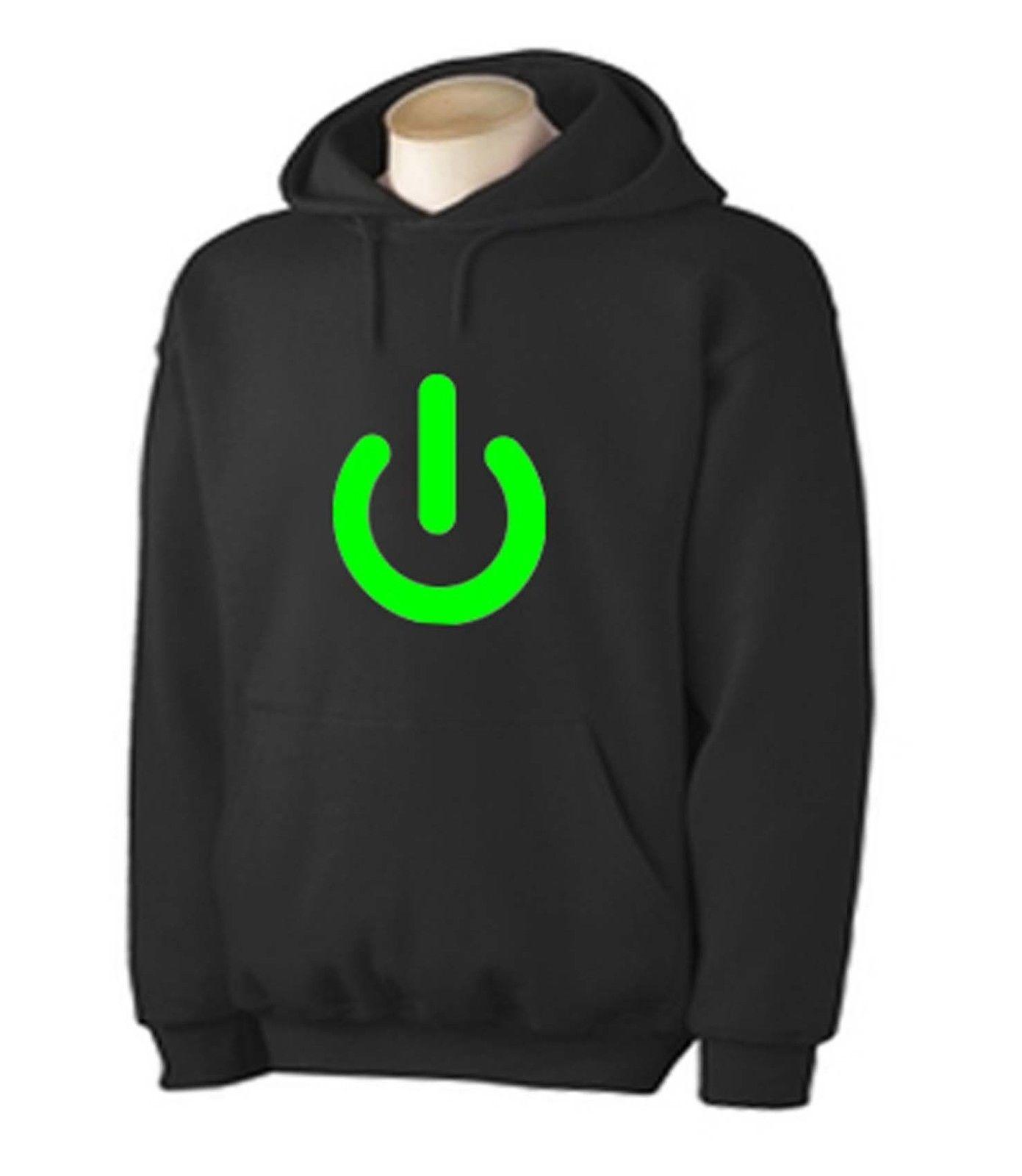POWER BUTTON HOODIE - Gaming Geek Nerd Computer Game T-Shirt - Sizes S to XXL