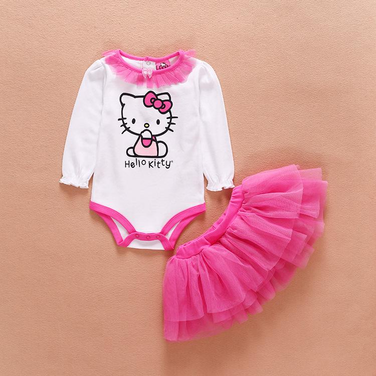 e94c4e16e 2019 Baby Romper Baby Girl Clothes Infant Long Sleeve Princess HelloKitty  Jumpsuit Tutu Dress Clothing Set From Happy_childhood, $8.48 | DHgate.Com