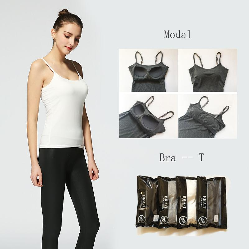 2a9a730c33 2019 Casual Women S Modal Adjustable Strap Built In Bra Padded Camisole  Slim Self Mold Bra Tank Top Cami Comfortable Vest Bustier From Veilolive