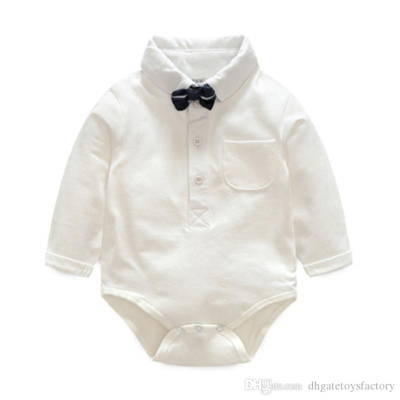 58249012b1c 2018 Handsome Spring Autumn Gentleman Suit With Bowknot Three Piece Cotton  White Skirt Grid Rompers Bow Fashion Clothing Sets For Children Boys From  ...
