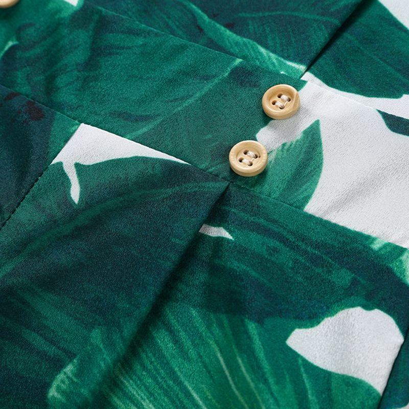 Hoja verde sin mangas de verano recién nacido bebé niña niños mameluco mono correa de espagueti mameluco moda