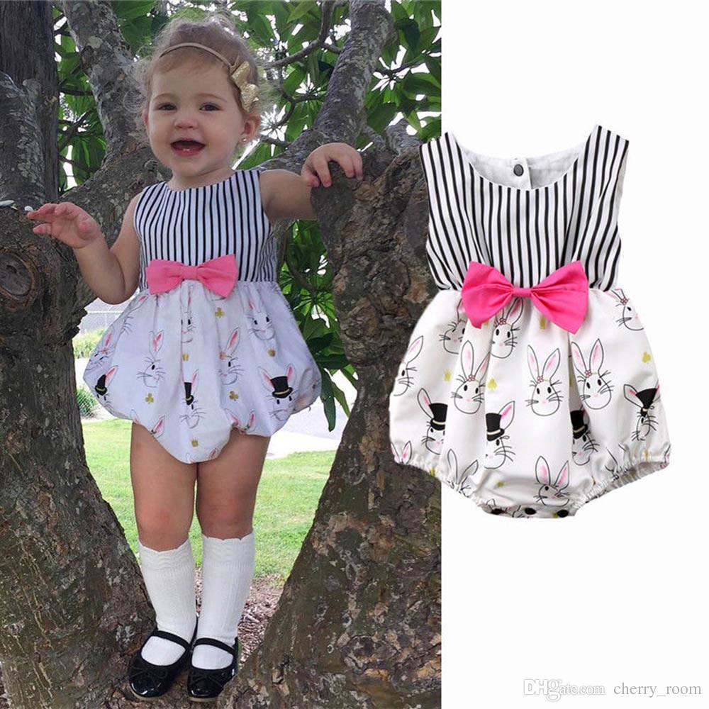4a601f8a755a Cartoon Baby Girls Romper Summer Stripe Bunny Printed Bow Sleeveless Toddler  Onesie Cute Rabbit Infant Jumpsuit Newborn Bodysuit C3268 Toddler Girl ...