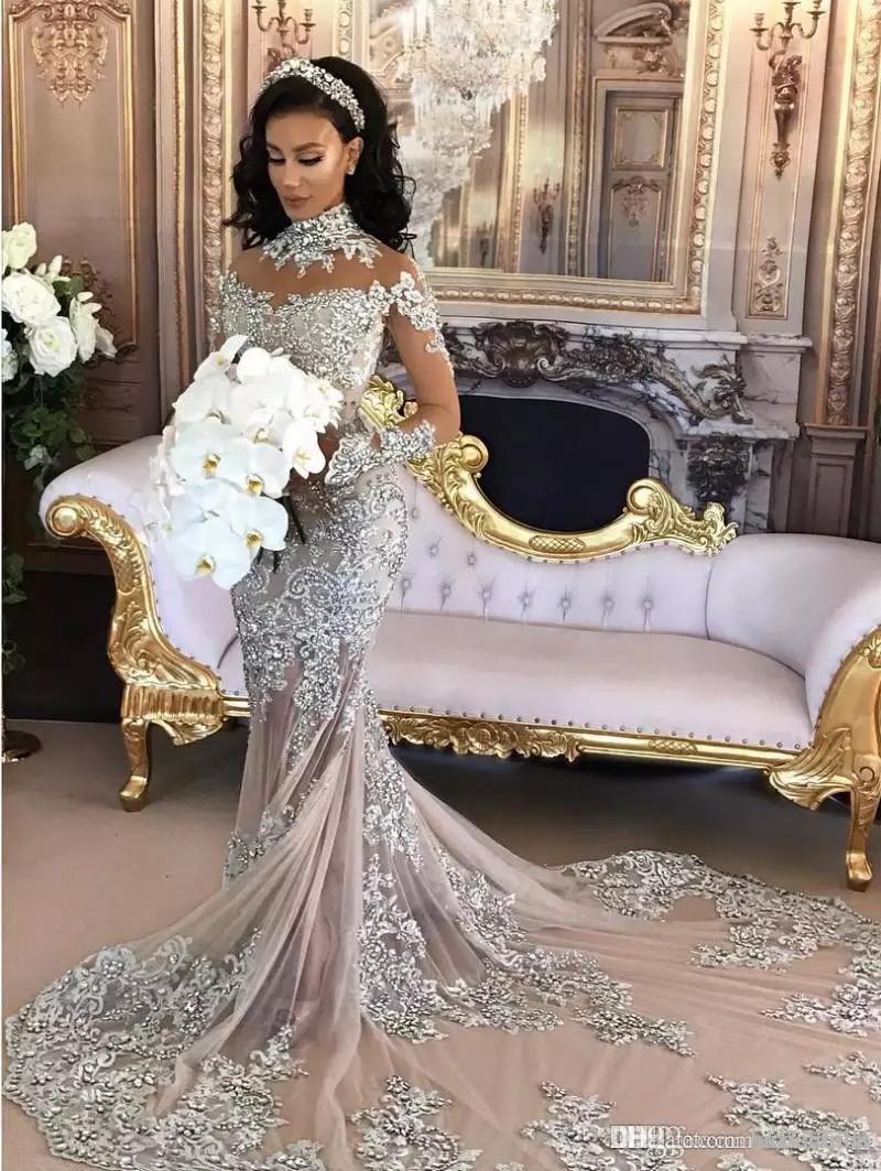 2019 Vintage High Neck Arabische Meerjungfrau Brautkleider Mit Langen Ärmeln Kristall Perlen Meerjungfrau Langen Zug Afrikanische Brautkleider vestido de novia