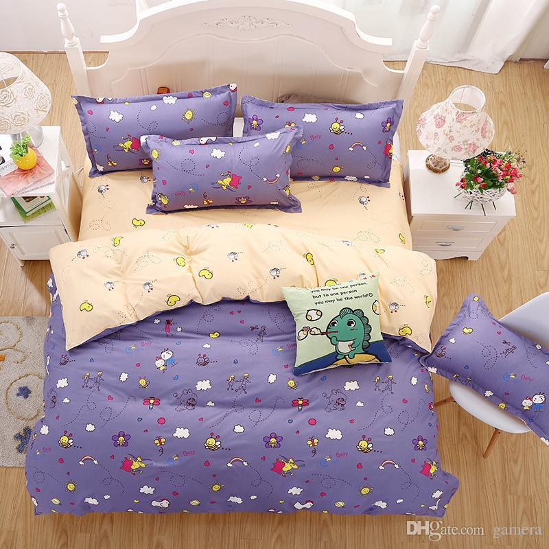 Wholesale 2016 New Bedding Sets Purple Style Cute Little Bee Reactive  Printing Kid Bed Sheets Quilt Cover Pillow King Queen Full Twin Kids  Comforters ...