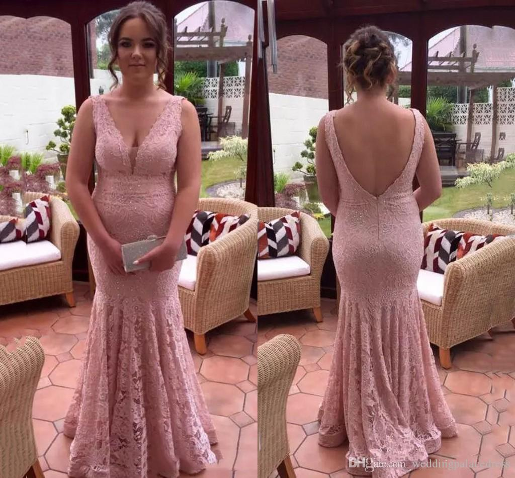 63b547f89e 2018 Full Lace Blush Pink Mermaid Prom Evening Dresses Beads Deep V Neck  Backless Formal Evening Prom Party Gowns Vestidos De Fiesta Largos Sexy Prom  ...