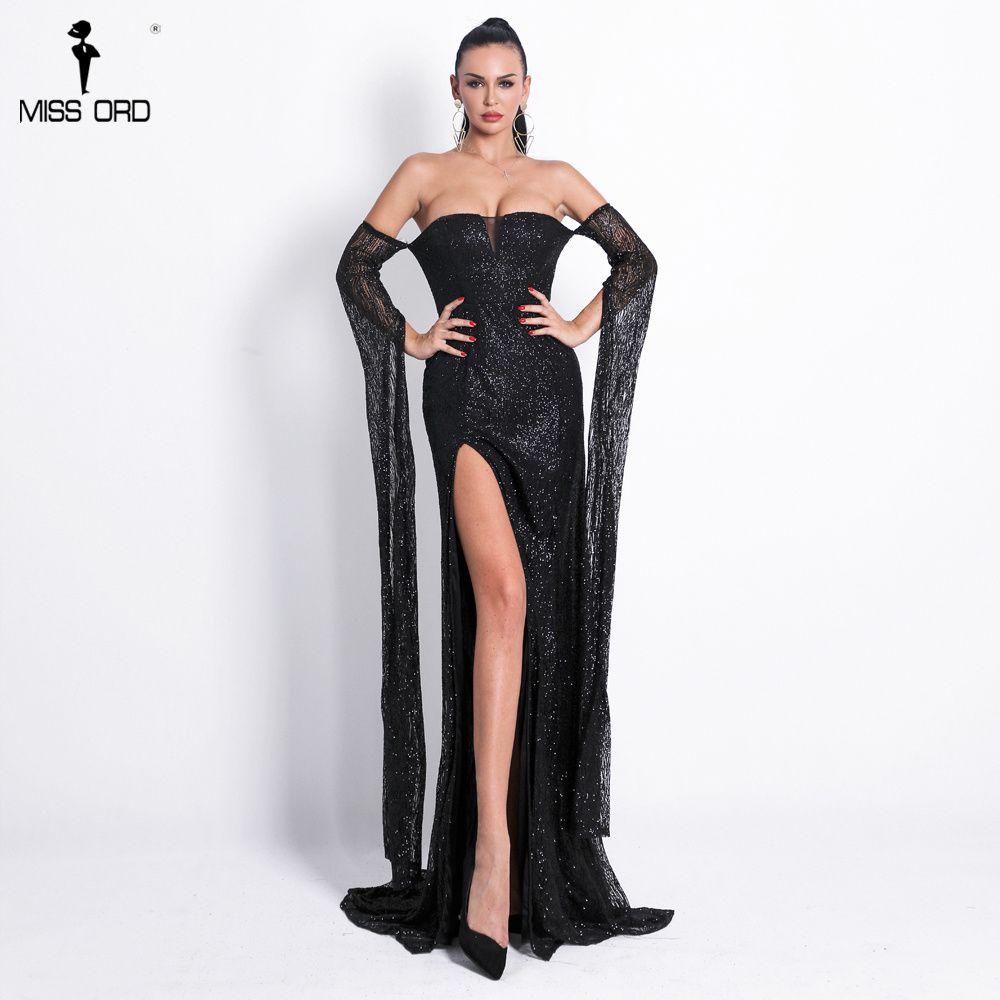 3dfa454f62376 Missord 2018 Women Sexy Off Shoulder one neck Backless glitter Dresses  Female High Split Elegant Party Dress FT18558-1