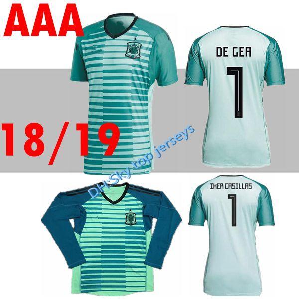 new product e7d84 cff5c 2018 Spain Home Goalkeeper De Gea Green Shirt Espana Football Soccer Jersey  Shirt A.Iniesta David Silva Ramos Isco Morata Asensio Pique Saul