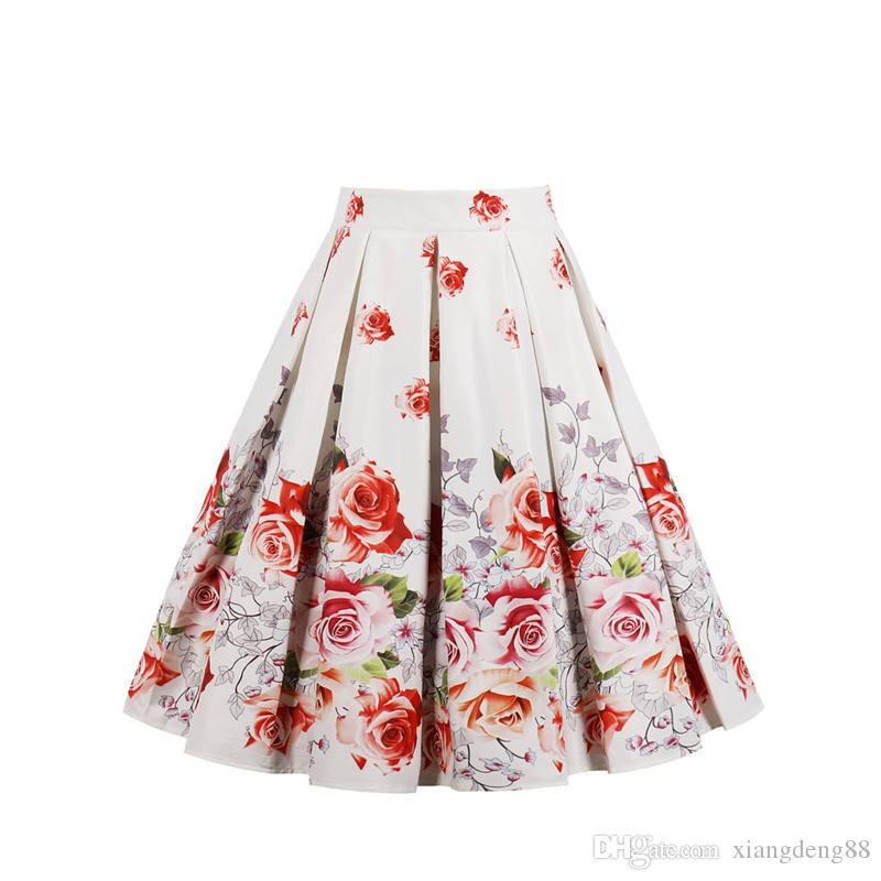 f7b7be8cce 2019 Girls Women Floral Print Skirt Party Ball Gown Pleated Skater Midi  Skirt Designed High Waist Flower Printed Vintage Skirts Hot From  Xiangdeng88