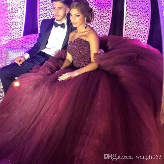 2018 Burgandy Beaded Prom Dresses Ball Gown Stunning Sweetheart Floor Length Evening Gowns Tulle Backless Party Gowns