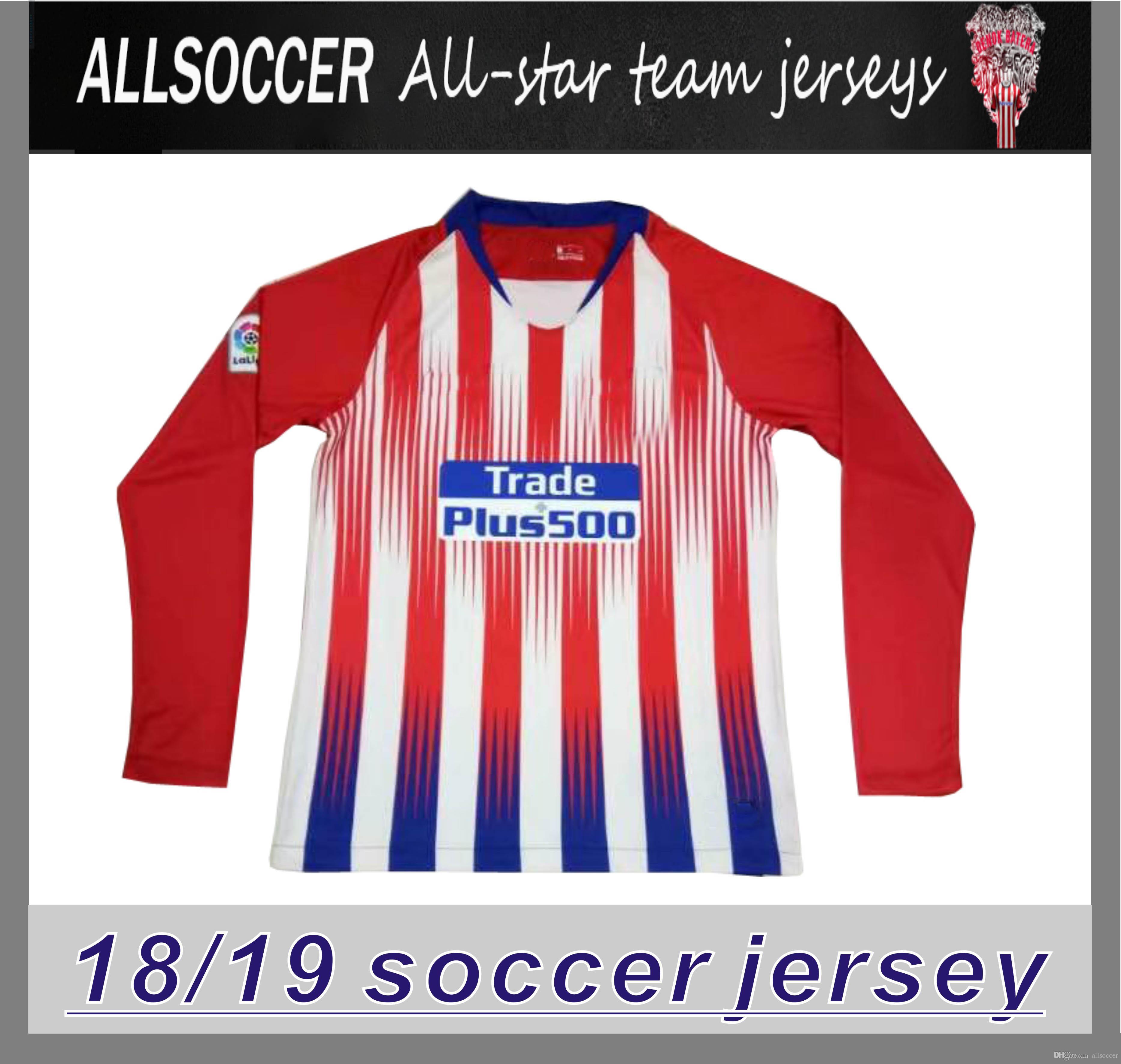8baac6af759 7 GRIEZMANN Madrid Long Sleeve Soccer Jersey 18/19 #6 KOKE Soccer ...