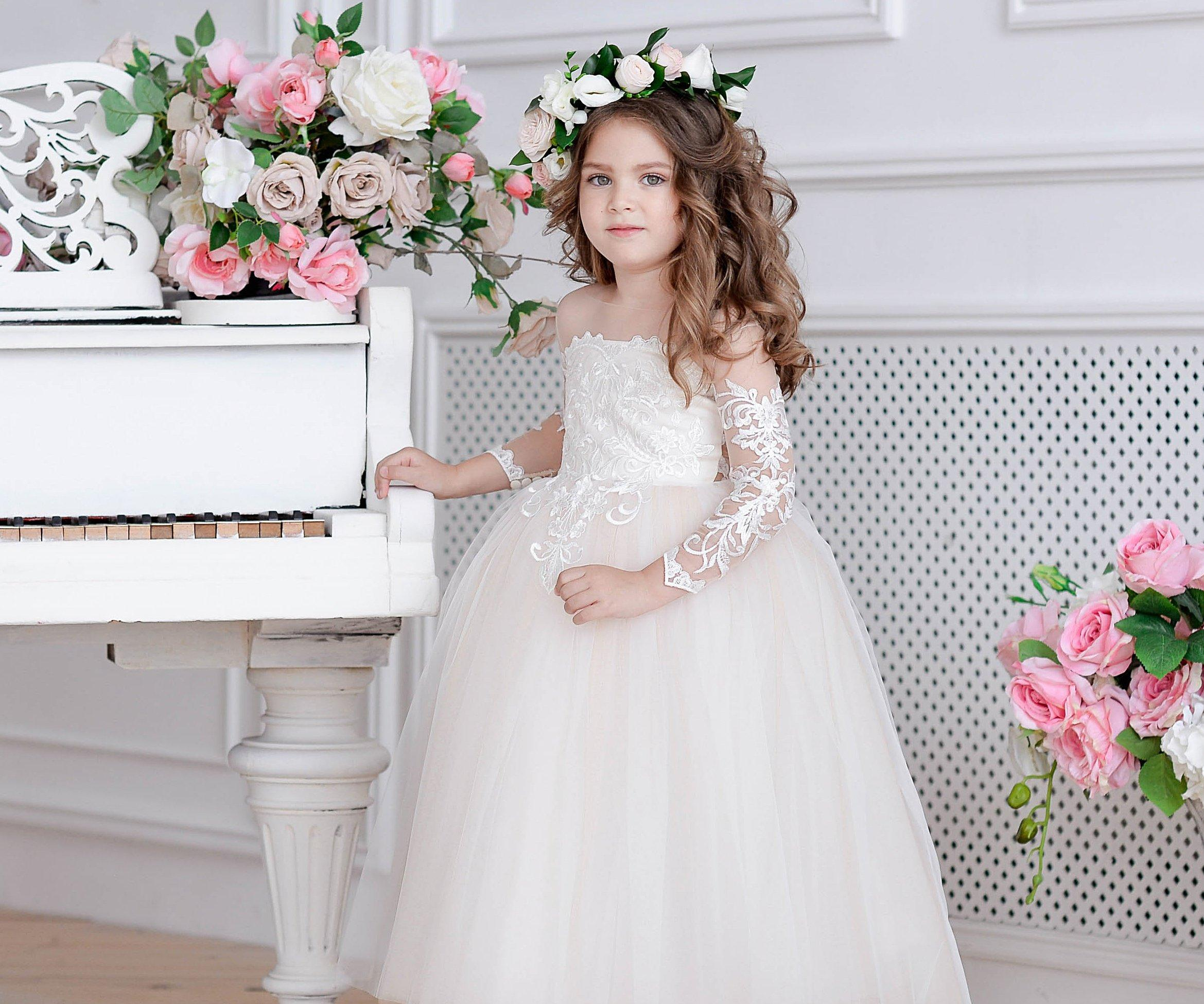 White Ivory Champagne New Flower Girl Dresses Tulle Toddler Lace