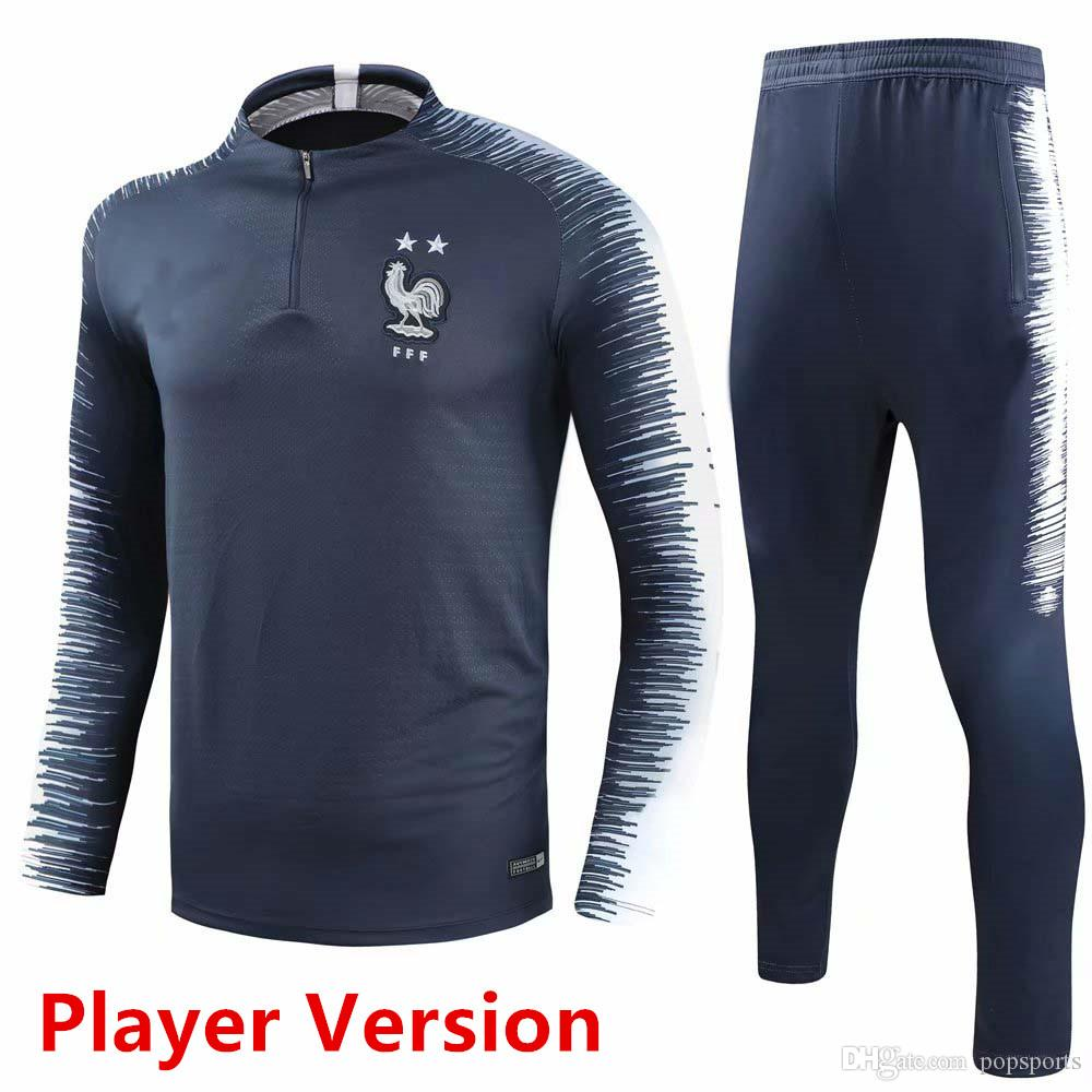 da9d079fa 2019 Tracksuit Training 2018 World Cup MBAPPE Francais 2 Stars Long Sleeve  Jacket Suit Kit Soccer Jersey French Football Uniform Jacket Pant From  Popsports, ...