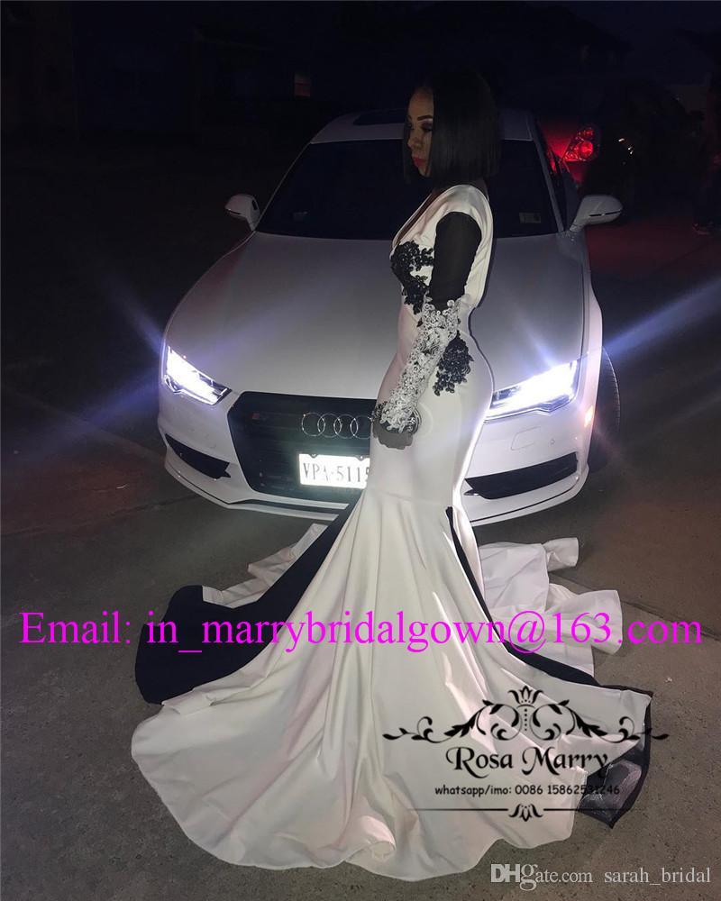 Schwarz Weiß Lange Ärmel Mermaid Prom Kleider 2018 Plus Size Vintage Spitze 2K18 Backless Lange Mädchen Formale Abschlussfeier