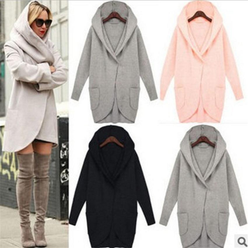 2018 Winter Coat Women Trench Coats Pocket Long Sleeve Hooded Women Overcoat Cotton Blend Cardigans hoodies coat Plus size 5XL