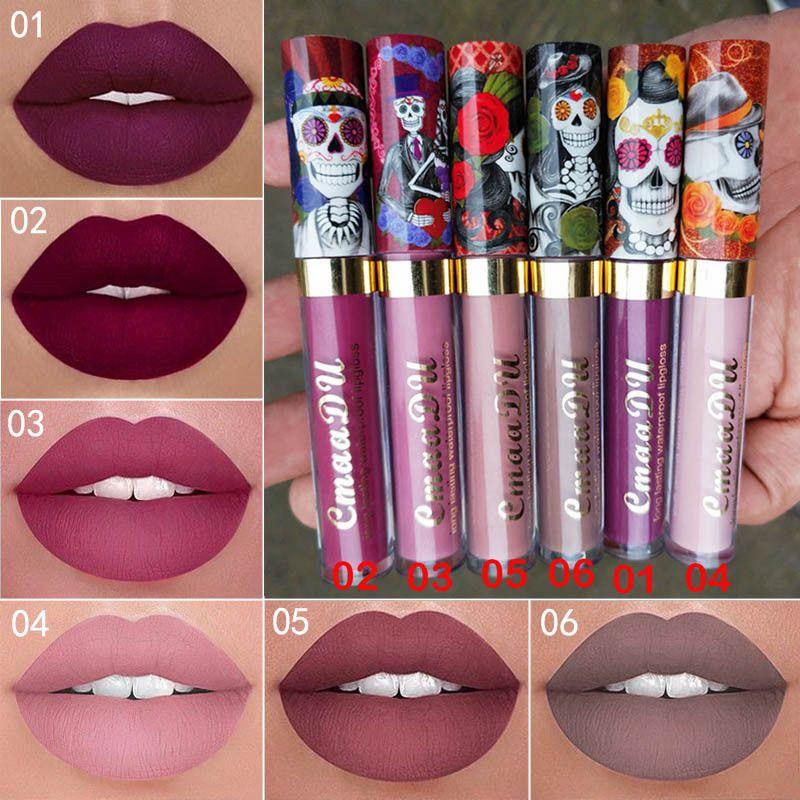 New Makeup CmaaDu Long lasting Matte Liquid lipstick Skull Lip Gloss Sexy Waterproof Red Velvet Lip Gloss High quality DHL shipping